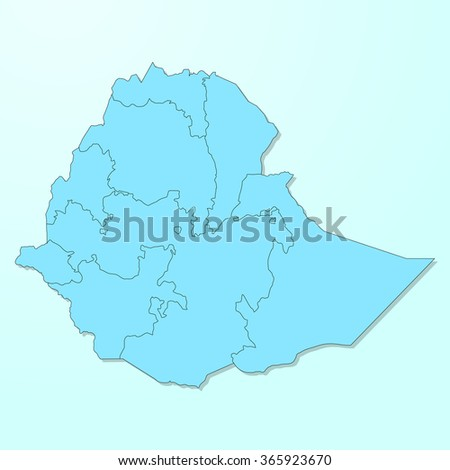 Ethiopia map on blue degraded background vector - stock vector