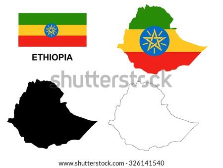 Ethiopia map vector, Ethiopia flag vector, isolated Ethiopia - stock vector