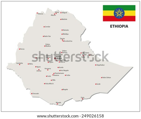 ethiopia map with flag - stock vector