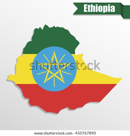 Ethiopia map with flag inside and ribbon - stock vector