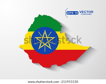 Ethiopia map with shadow effect - stock vector