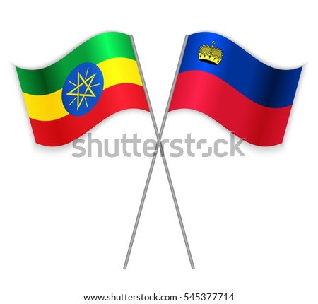 Ethiopian and Liechtenstein crossed flags. Ethiopia combined with Liechtenstein isolated on white. Language learning, international business or travel concept.