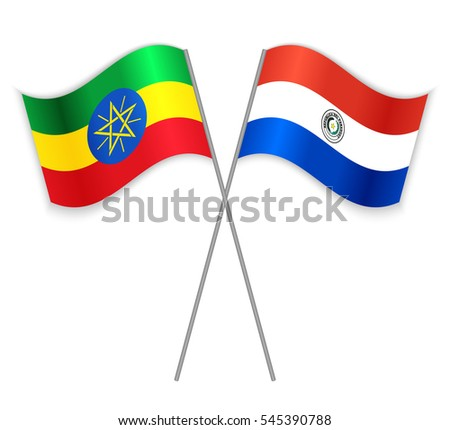 Ethiopian and Paraguayan crossed flags. Ethiopia combined with Paraguay isolated on white. Language learning, international business or travel concept.