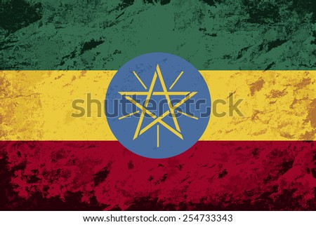 Ethiopian flag Grunge background. Vector illustration Eps 8.