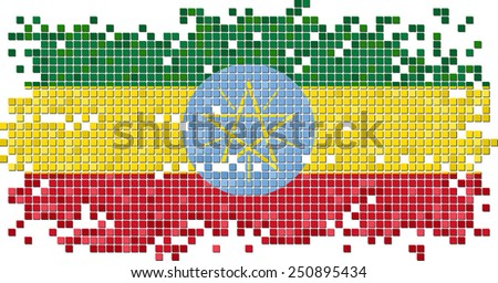 Ethiopian grunge tile flag. Vector illustration Eps 8. - stock vector