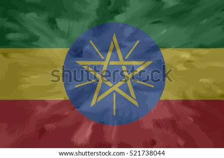 Ethiopian painted / drawn vector flag. Dramatic, unusual look. Vector file contains flag and texture layers