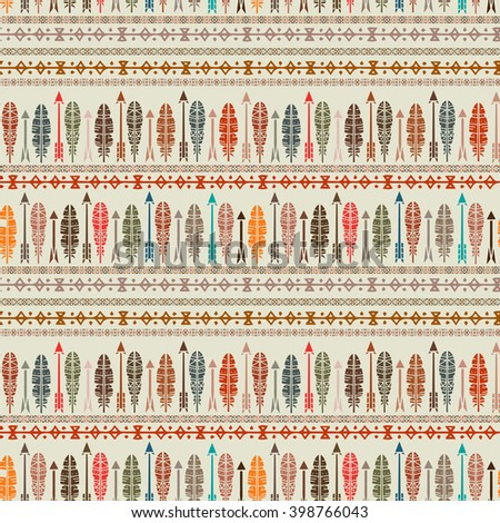 Ethnic abstract seamless pattern, feathers, arrows. Tribal art boho print, border ornament. Background texture, decoration