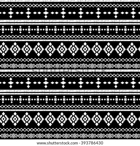 Ethnic abstract seamless pattern. Tribal art boho print, border ornament. Background texture, decoration - stock vector