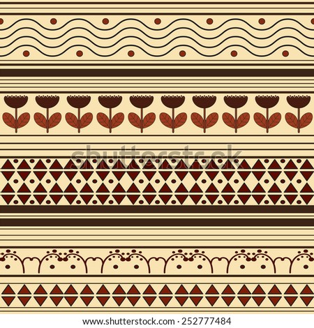 ethnic African striped geometric pattern in yellow-brown tones - stock vector