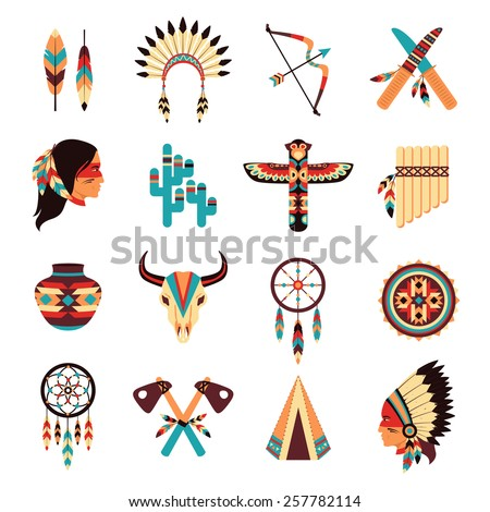 Ethnic american idigenous tribal amulets and symbols icons collection  with native feathers headdress abstract isolated vector illustration - stock vector
