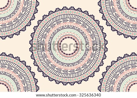 Ethnic Aztec circle ornament seamless pattern, vector illustration - stock vector