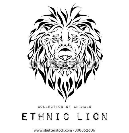 Aninimal Book: Ethnic Black Head Lion Totem Tattoo Stock Vector 308852606 - Shutterstock