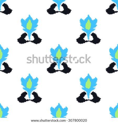 Ethnic blue print - stock vector