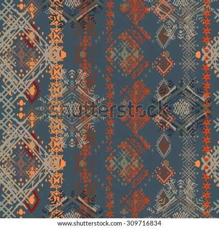 Ethnic boho distressed seamless pattern. Ethno ornament. Tribal art repeating background. Cloth design, wallpaper, wrapping - stock vector
