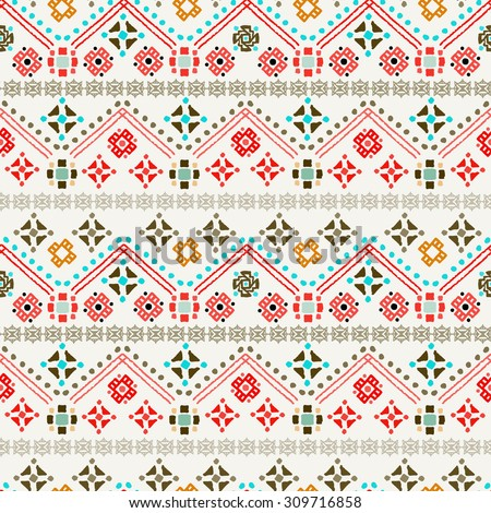 Ethnic boho seamless pattern. Tribal art print. Colorful repeating background. Cloth design, wallpaper, wrapping - stock vector