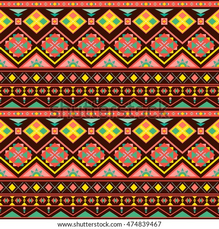 Ethnic boho seamless patterns. Vintage ornament. Abstract background texture, wallpaper, wrapping. Vector illustration.