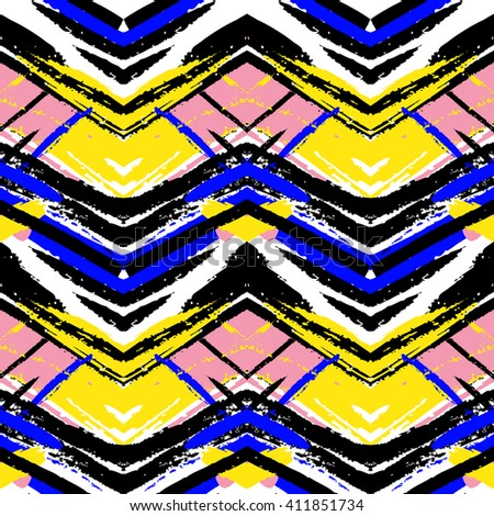 Ethnic brushsrokes vector seamless pattern. Herringbone striped texture. Ethnic background. Tribal pattern in blue, yellow, pink colors - stock vector