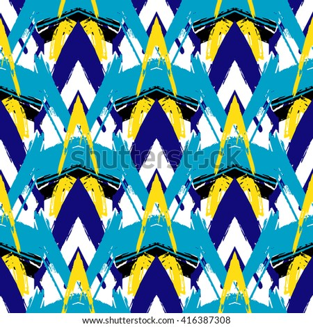 Ethnic brushsrokes vector seamless pattern. Herringbone striped texture. Ethnic background. Tribal pattern in blue, yellow, colors - stock vector