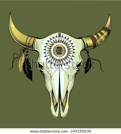 ethnic bull skull in gold - stock vector