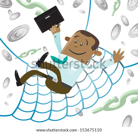 Ethnic Business Buddy has a Financial Safety Net.  - stock vector
