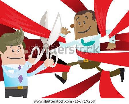 Ethnic Business Buddy is Cut Free from Red Tape. Vector illustration of Ethnic Business Buddy clearly very happy to be set free from the bureaucratic red tape that he's got caught up in.  - stock vector