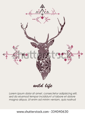 Ethnic card with a deer in Aztec style