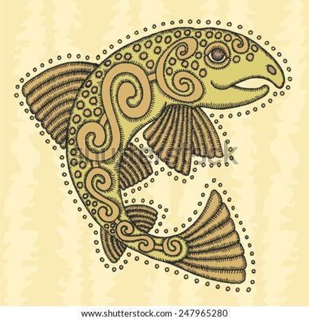 ethnic celtic salmon fish - stock vector