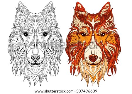 Ethnic Collie Dog Doodle Illustration For Adult Coloring Book With Sample Decorative Ornamental Vector