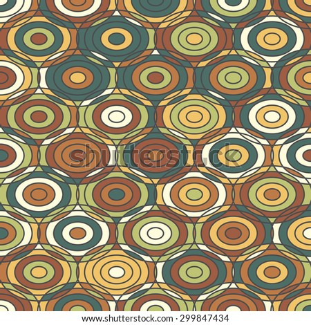 Ethnic colored ornamental Texture with Circles. Vector background Pattern - stock vector