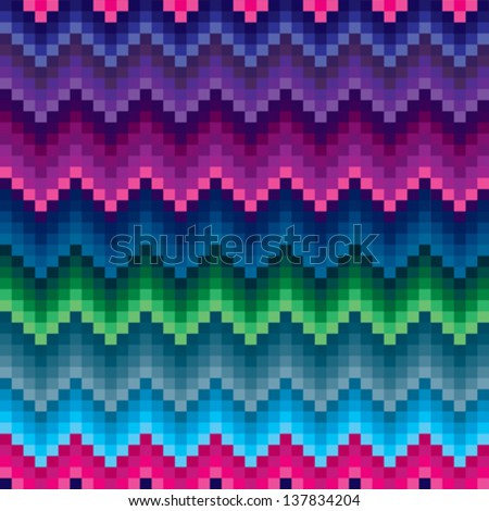 ethnic colored zigzag seamless pattern - stock vector