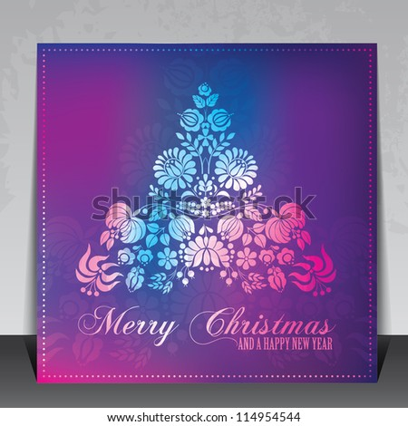 Ethnic decorative Christmas card vector with Hungarian folklore ornaments - stock vector