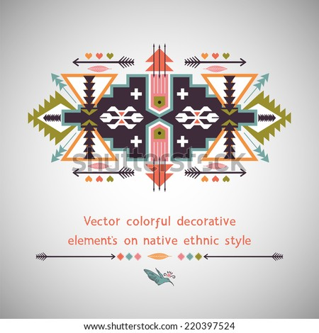Ethnic decorative element on native ethnic style - stock vector