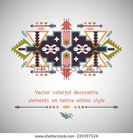 Ethnic decorative element on native ethnic style - stock vector