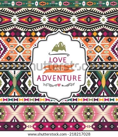 Ethnic decorative pattern on native ethnic style - stock vector