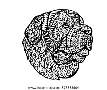 Ethnic Detail Zen Tangle Dog Doodle Illustration For Coloring Book Tattoo Sticker Shirt