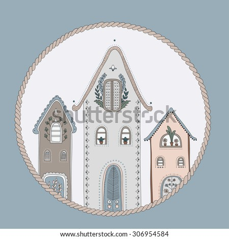 Ethnic doodle house, entry to home - stock vector