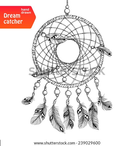 Ethnic dream catcher with feathers. American Indian style. Isolated on white background. Vector illustration.