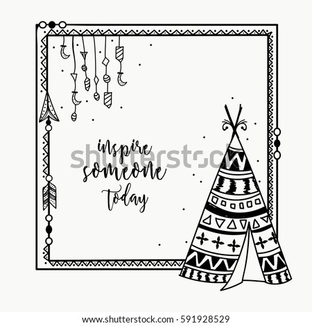 Ethnic Elements Decorated Frame Tribal Teepee Stock Photo (Photo ...