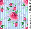 ethnic embroidery pink red rose ...