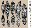 Ethnic Feather vector set. Hand drawn illustration. - stock vector
