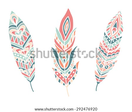 Ethnic Feathers. Hand drawn design elements. Vector Illustration - stock vector
