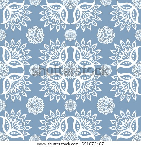 Ethnic Floral Seamless Pattern in The Oriental Style. Elegant Luxury Texture for Textile, Wallpapers, Backgrounds and Wrapping.