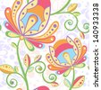 Ethnic floral seamless pattern with colorful hand-drawn flowers on ornate background - stock vector