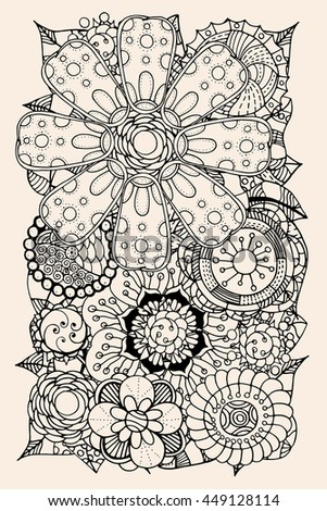 Ethnic floral zentangle, doodle background pattern circle in vector. Henna paisley mehndi doodles design tribal design element. Black and beige pattern for coloring book for adults and kids.