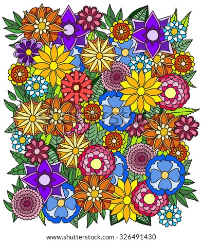 Ethnic floral zentangle, doodle pattern. Beautiful doodle art flowers. Hand drawn herbal design elements. Multicolored pattern.