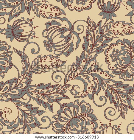 Ethnic Flowers seamless pattern. Vintage Floral Vector background