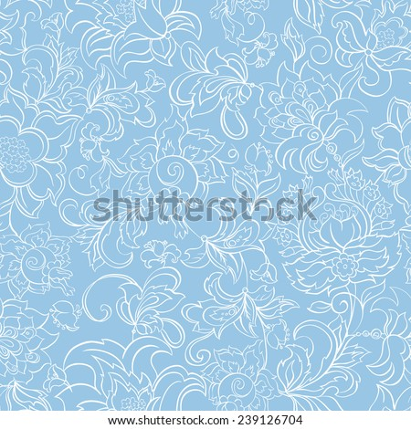 ethnic flowers seamless vector pattern