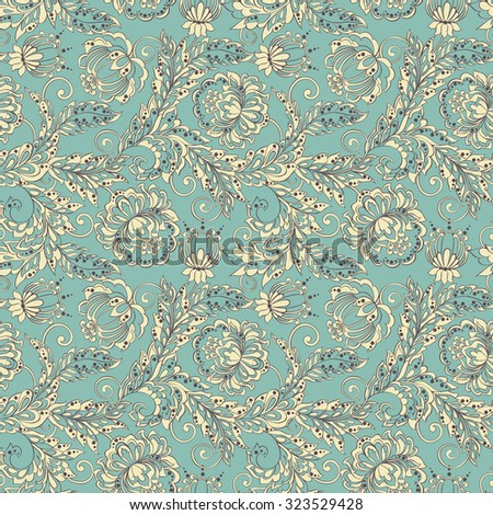 ethnic flowers seamless vector pattern. floral vintage background - stock vector