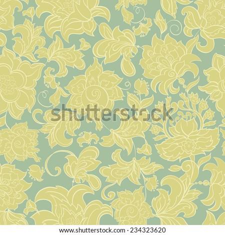 ethnic flowers seamless vintage vector pattern - stock vector