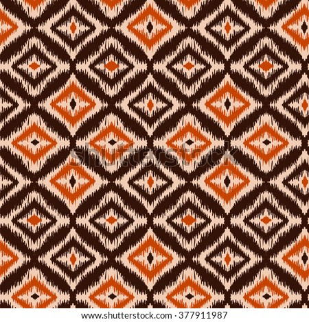 Ethnic folk seamless pattern Ikat Ogee, consisting of orange, beige and brown elements